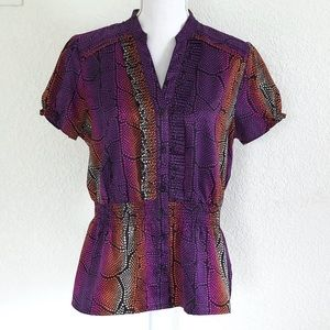 EAST 5TH • SNAKESKIN PRINT BUTTON STRETCH BLOUSE